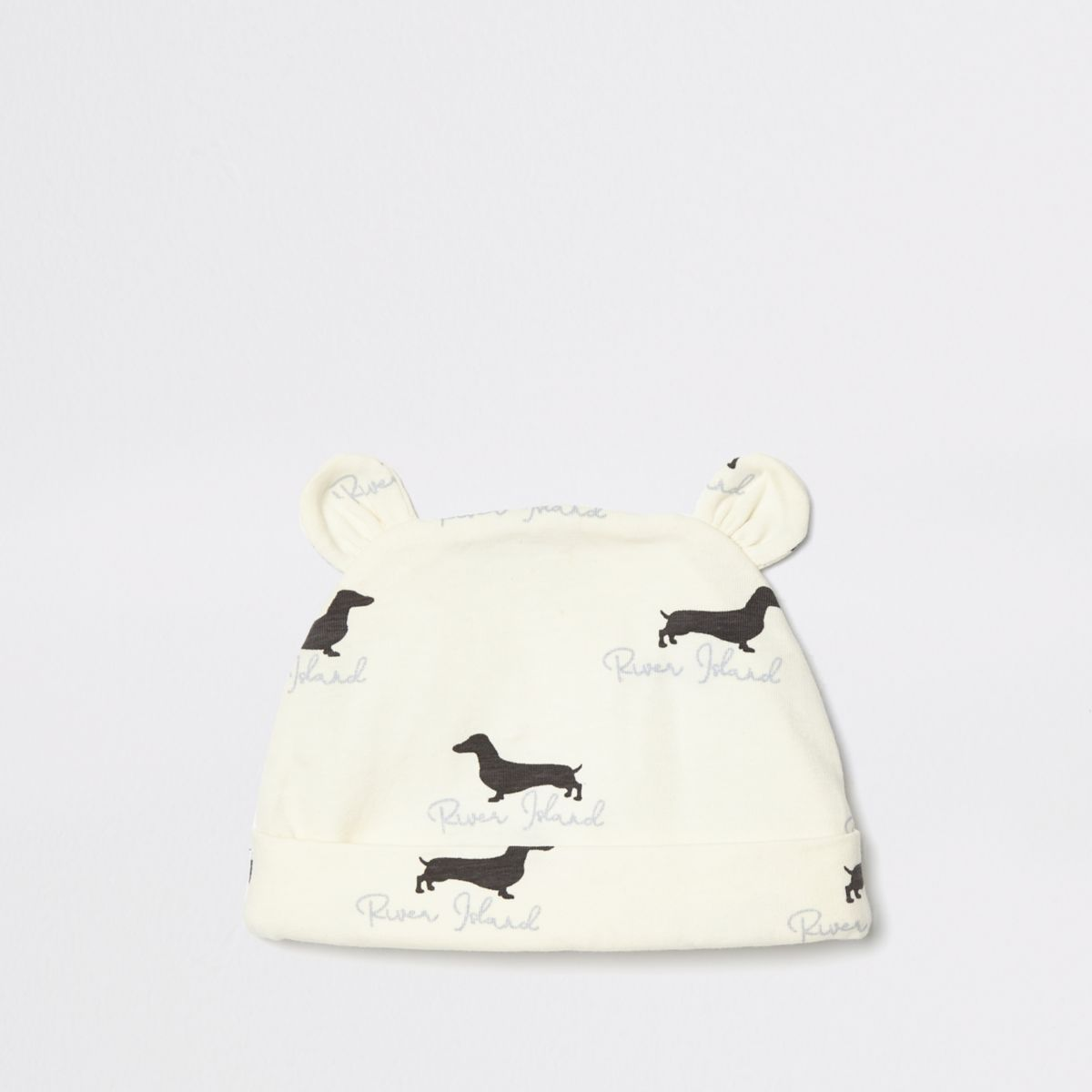 Baby cream dog print beanie hat