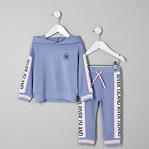 Ensemble avec sweat à capuche RI bleu mini fille