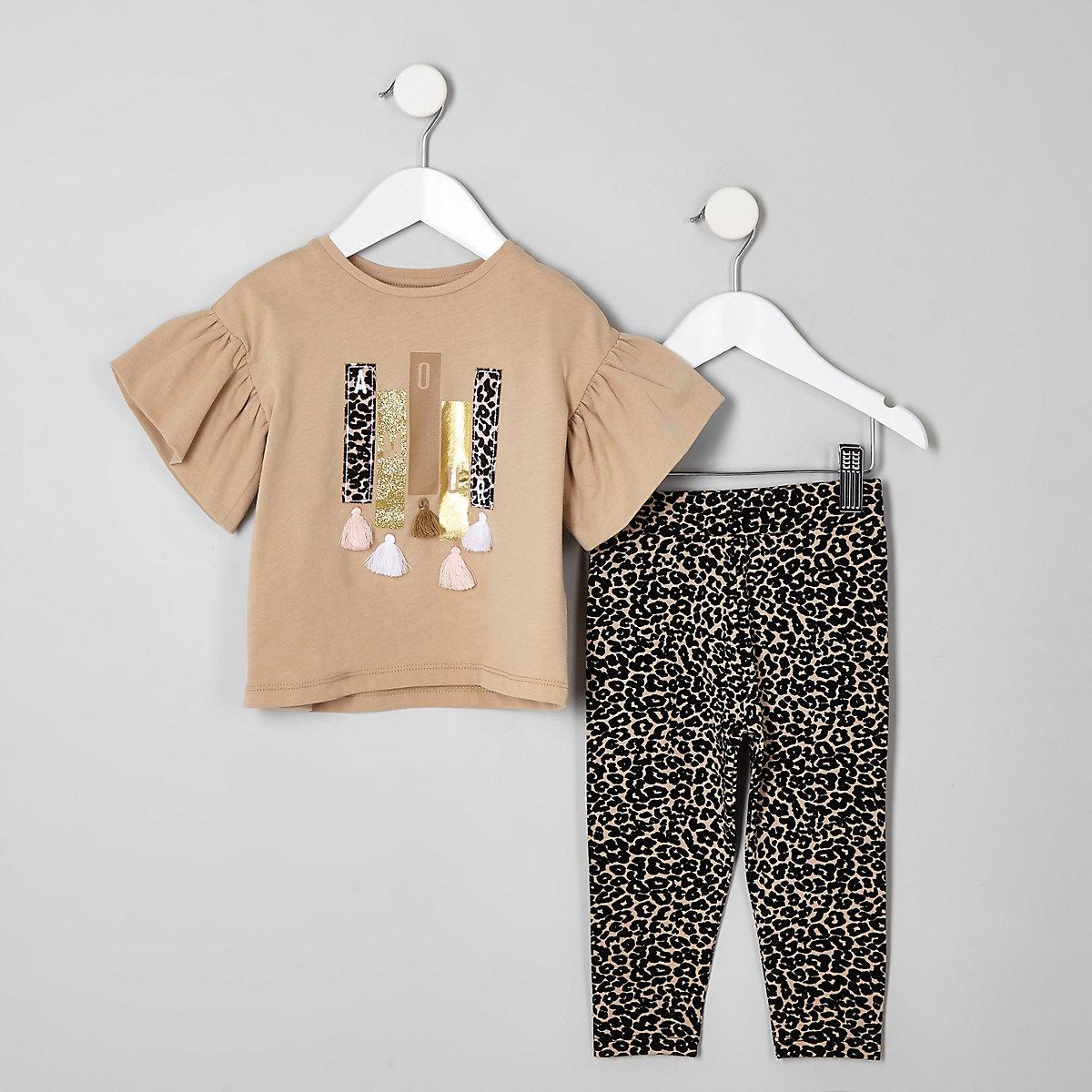 Mini girls beige leopard print legging set