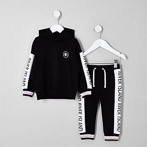 Mini girls black RI hoodie outfit