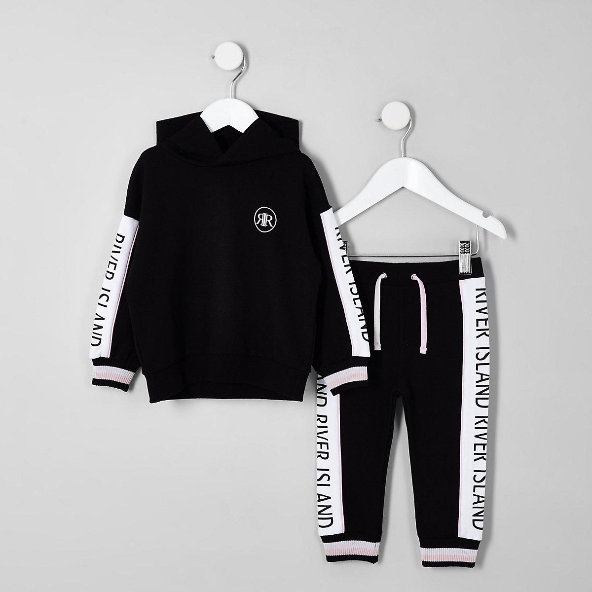 Mini girls black RI hoodie outfit