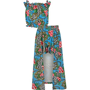 Girls blue chain print maxi skort outfit