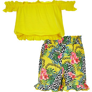 Girls yellow bardot frill top and shorts set