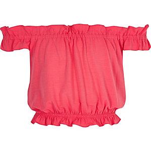 Koraalrode bardot-top met ruche voor meisjes