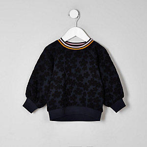 Marineblaues, geblümtes Sweatshirt