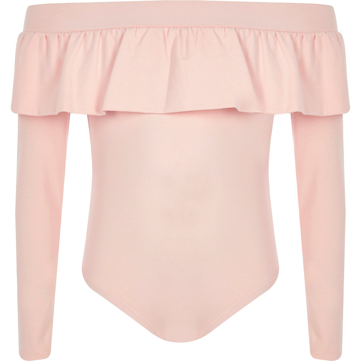 Girls pink frill bardot bodysuit