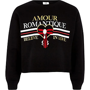 Girls black 'Amour romantique' sweatshirt