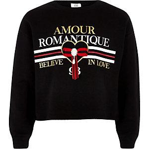Zwart sweatshirt met 'Amour romantique'-print voor meisjes