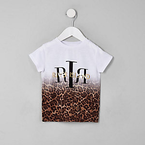 Mini girls white leopard print ombre T-shirt