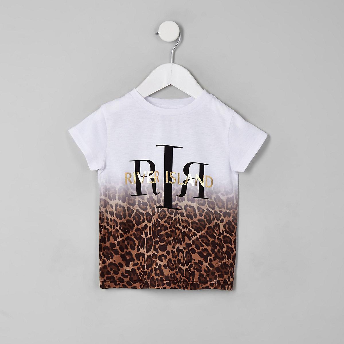 Mini girls white leopard print ombre T-shirt