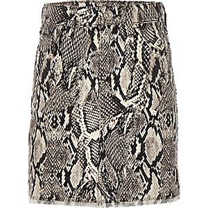 Girls grey snake print denim skirt