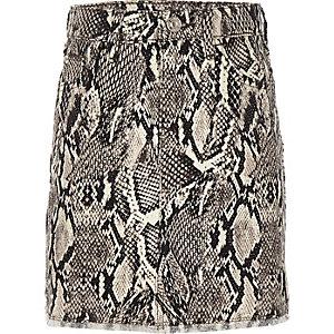 Grijze denim rok met slangenprint voor meisjes