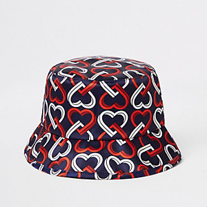 Mini girls navy heart print bucket hat