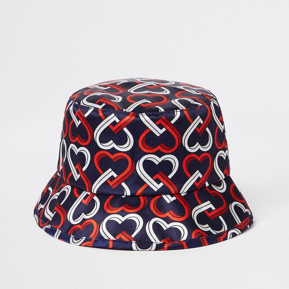 42ea34b7f92 Mini girls navy heart print bucket hat - Baby Girls Accessories - Mini Girls  - girls