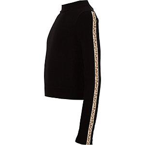 Girls black leopard diamante trim top