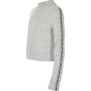 Girls grey leopard diamante trim top