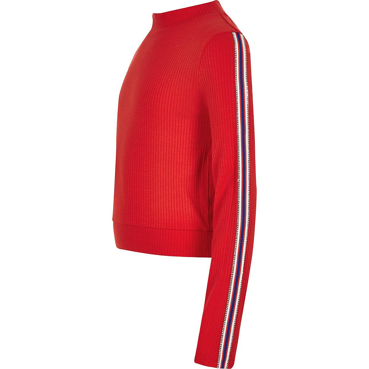 Girls red diamante trim long sleeve top