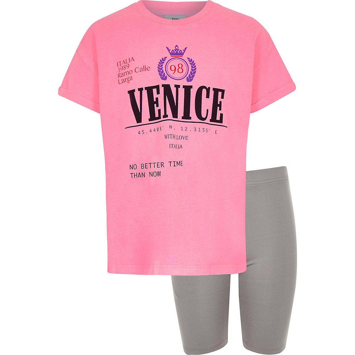 Girls pink 'Venice' T-shirt and short outfit