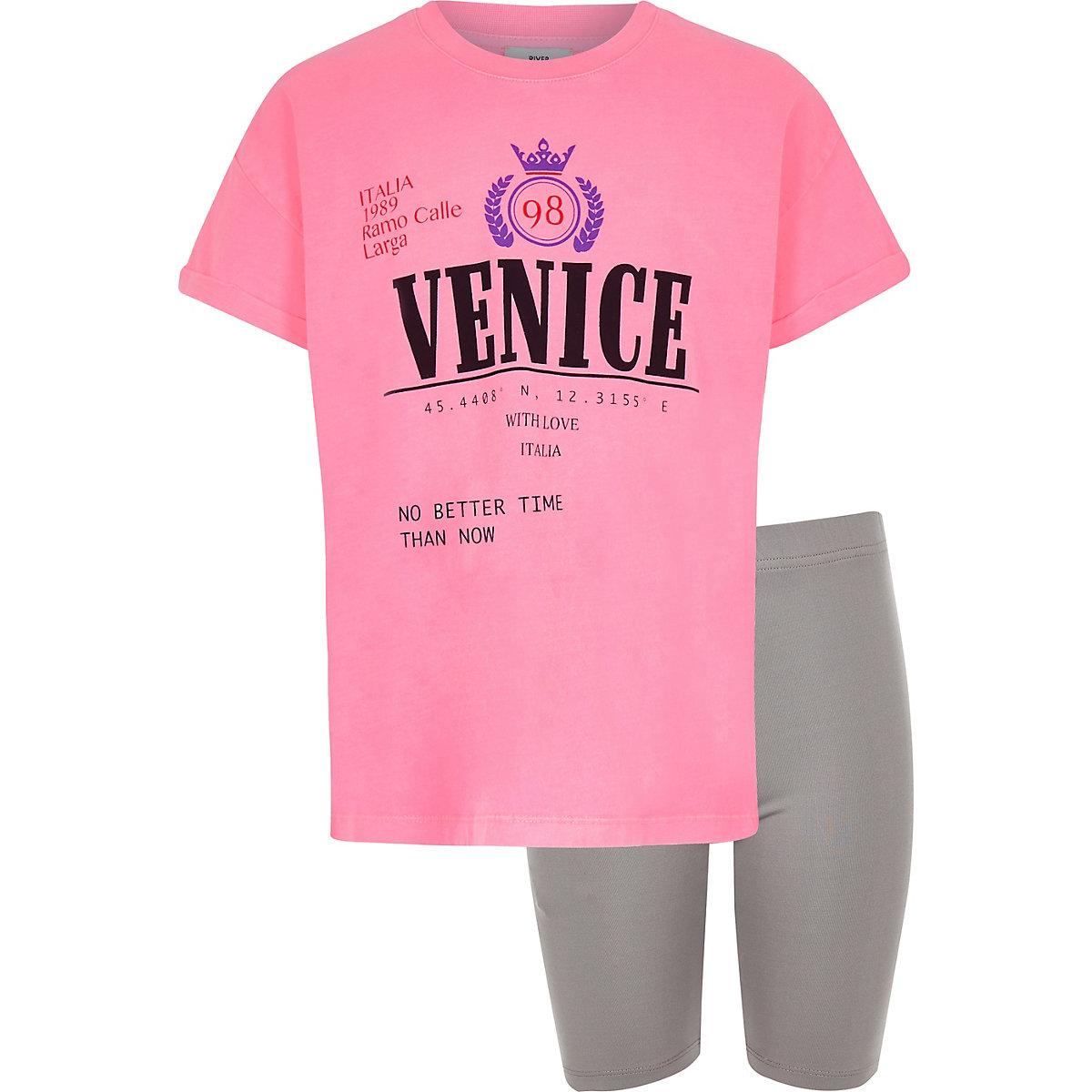 Ensemble short et t-shirt «Venice» rose pour fille