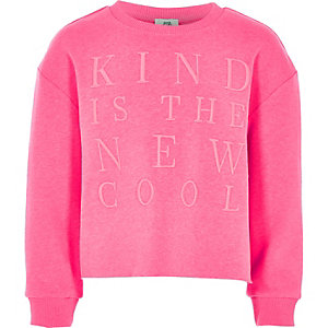 Sweat « Kind is the new cool » rose pour fille