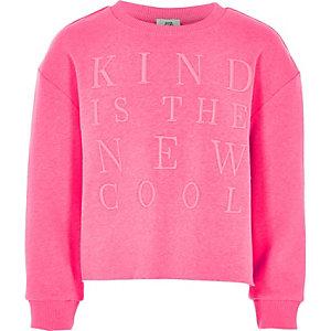 'Kind is the new cool' sweatshirt in roze voor meisjes
