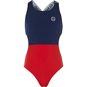 Girls navy color block cut out swimsuit