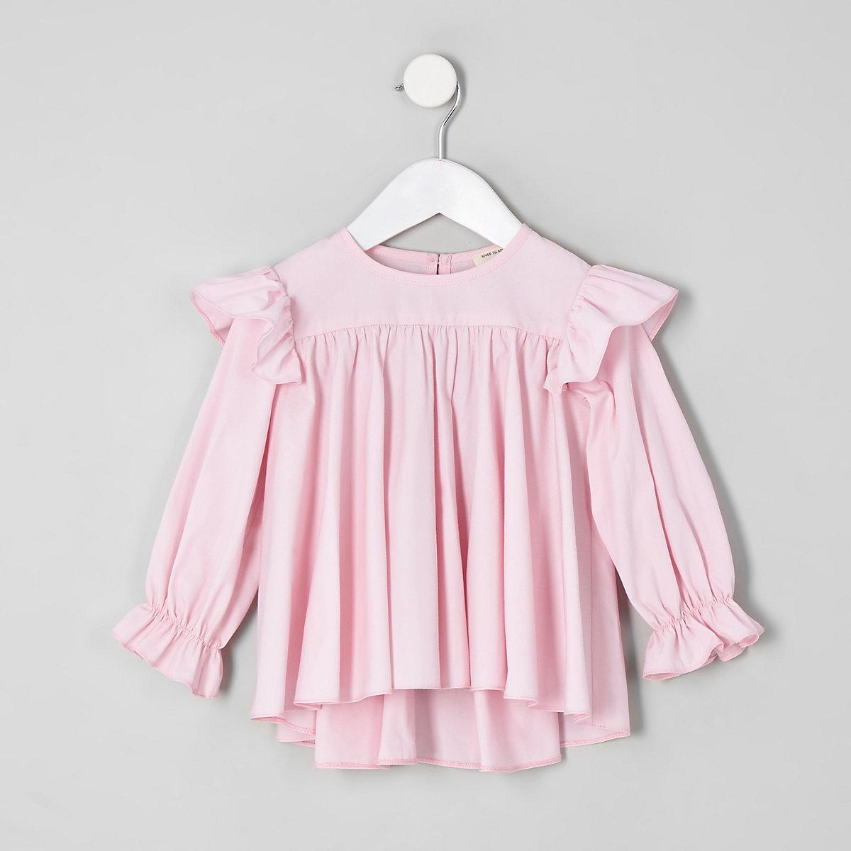 Mini girls pink  frill hem top