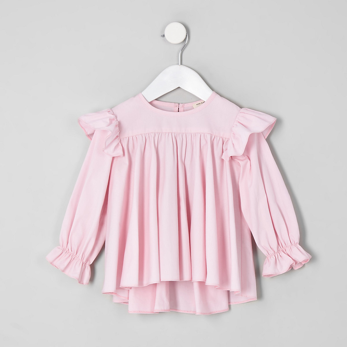 Mini girls pink  frill hem top