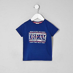 "Blaues, paillettenverziertes T-Shirt ""Dream"""