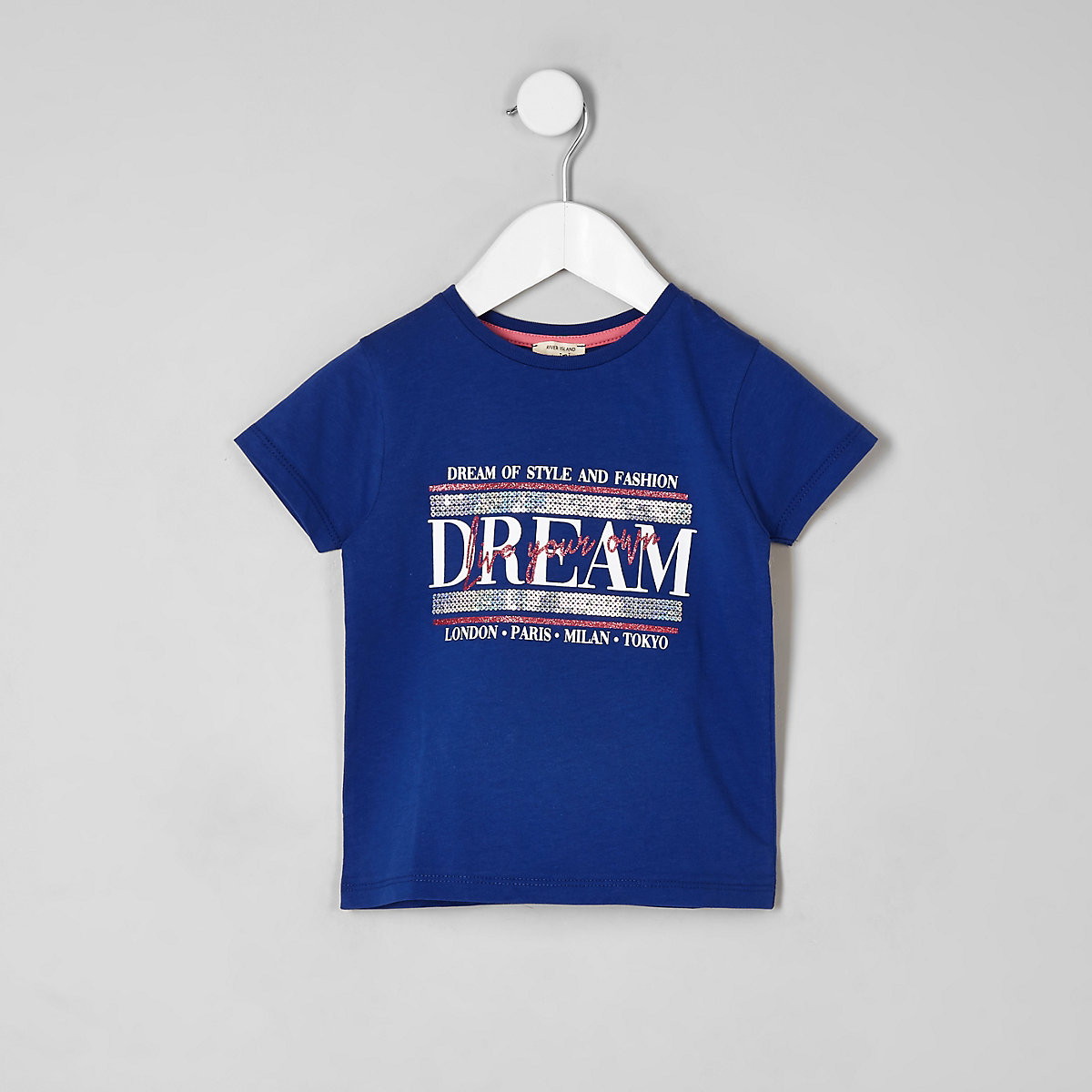 Mini girls blue 'Dream' sequin T-shirt