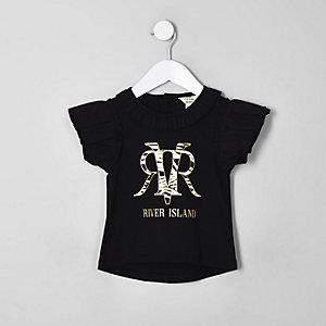 Mini - Zwart T-shirt met zebraprint en RI-logo voor meisjes