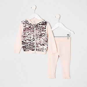 Mini girls pink animal zip cardigan outfit