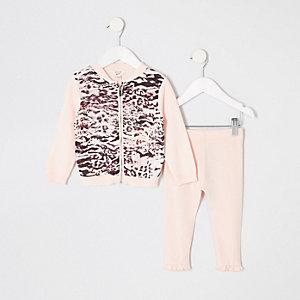 Ensemble avec cardigan imprimé animal rose zippé mini fille