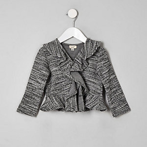 Mini girls black boucle frill jacket