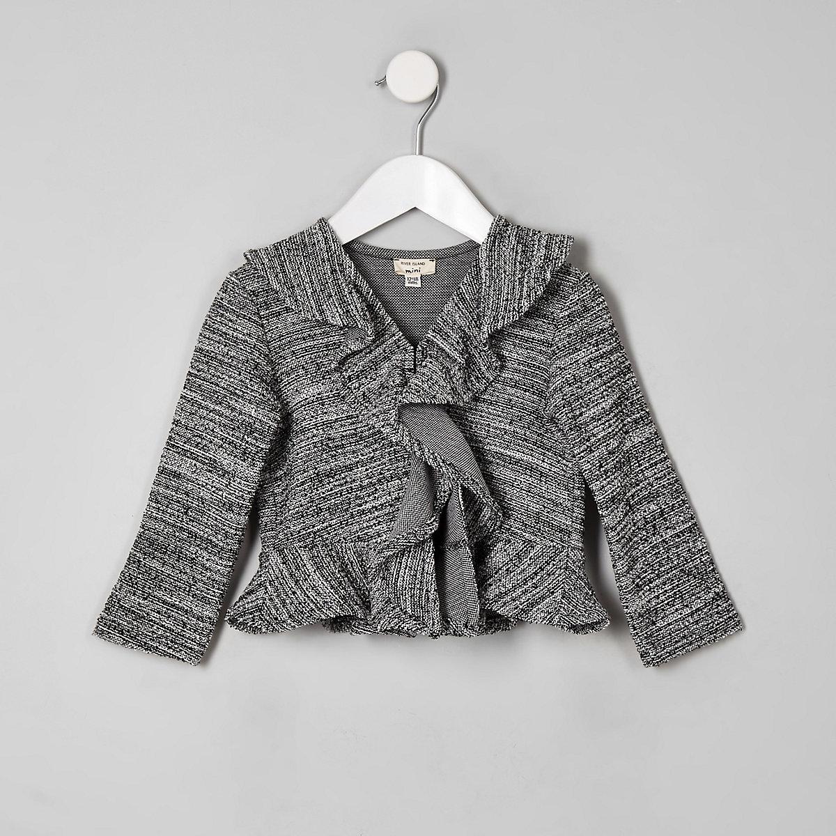 Mini girls black boucle frill jacket
