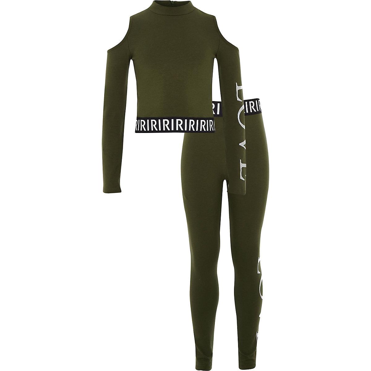 Girls khaki RI cold shoulder top outfit