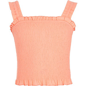 Girls coral shirred crop top