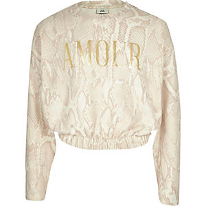 "Kuscheliges Sweatshirt ""Amour"" in Creme"