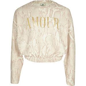 Crème behaaglijk sweatshirt met slangen- en 'Amour'-print