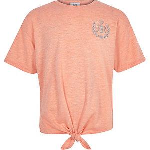 Koraalrood T-shirt met RI-logo en strik voor meisjes