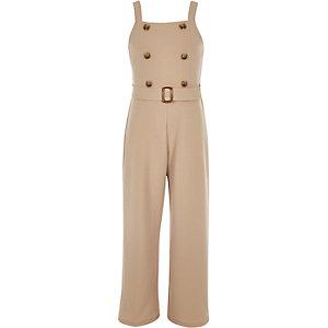 Camelkleurige jumpsuit met dubbele knopenrij en ceintuur voor meisjes
