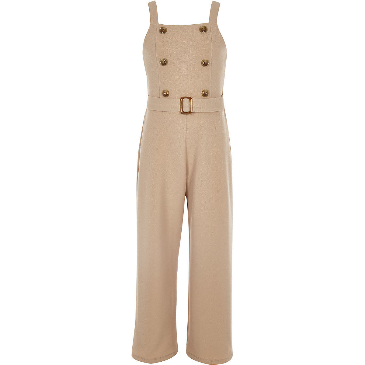 Girls camel double button belted jumpsuit