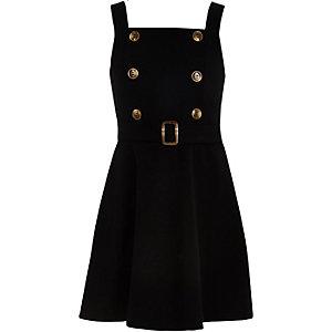 Girls black double button skater dress