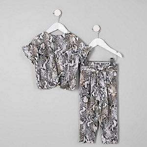 Mini girls grey snake print T-shirt outfit