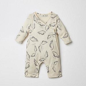 Crème rompertje met kimono en vleugelprint voor baby's