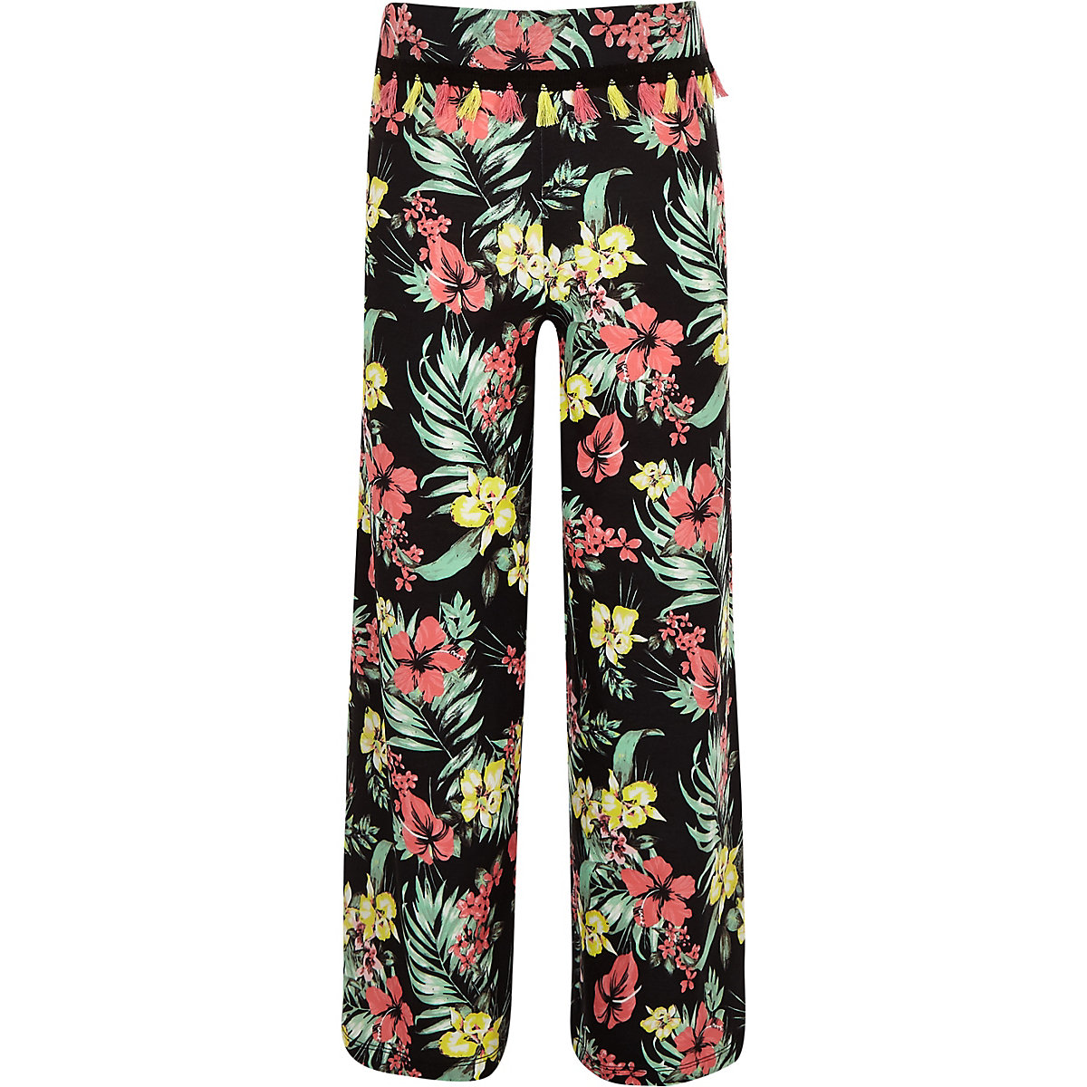 Girls black floral wide leg trousers