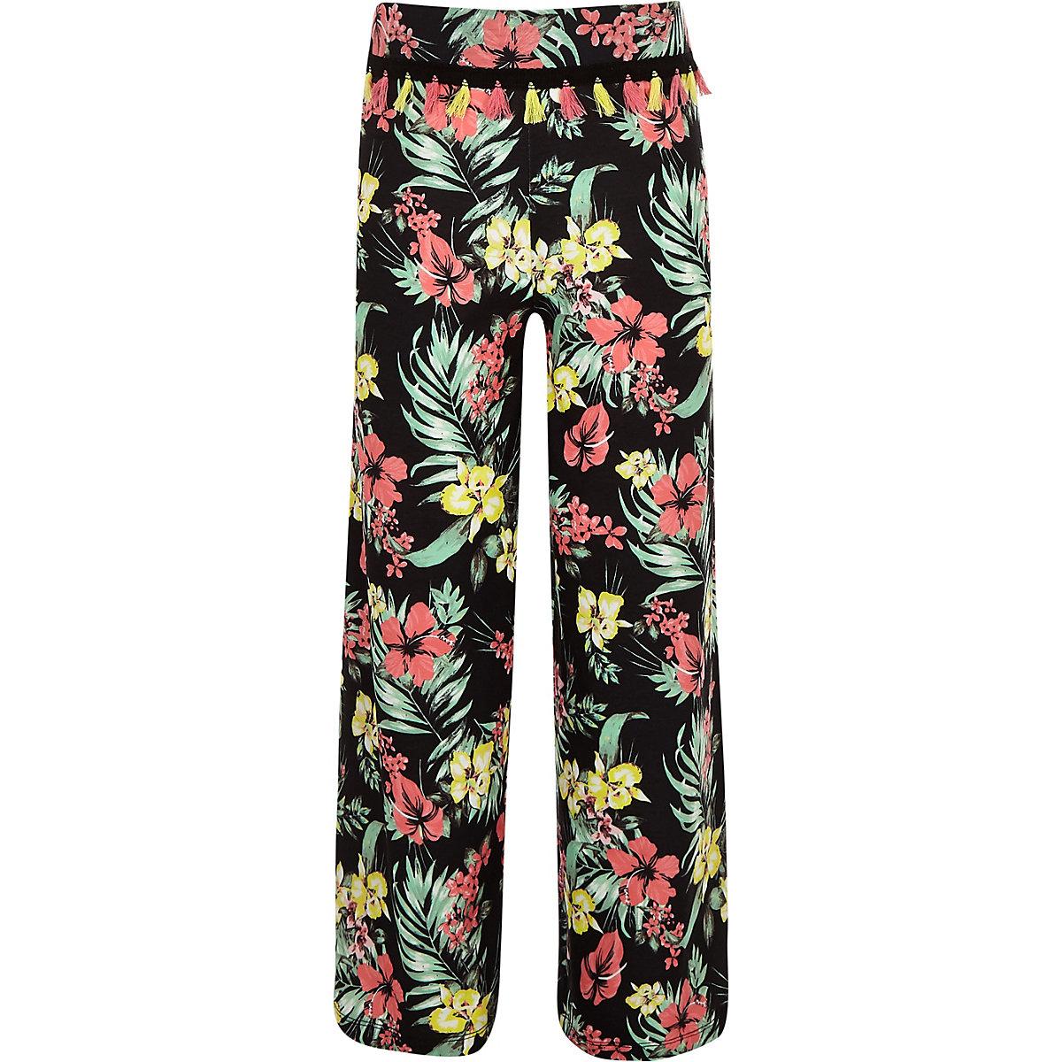 Girls black floral wide leg pants