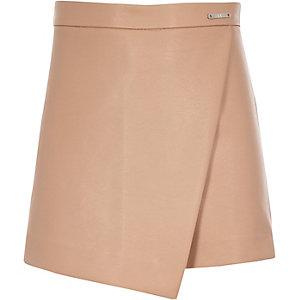 Jupe-culotte beige motif rose pour fille