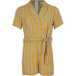 Gele overslagplaysuit met strepen voor meisjes