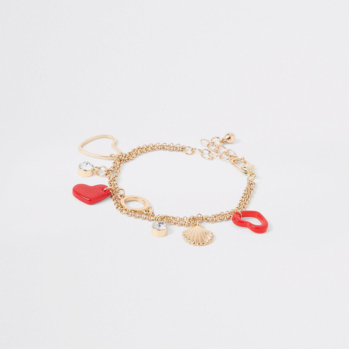 Girls gold tone red heart charm bracelet